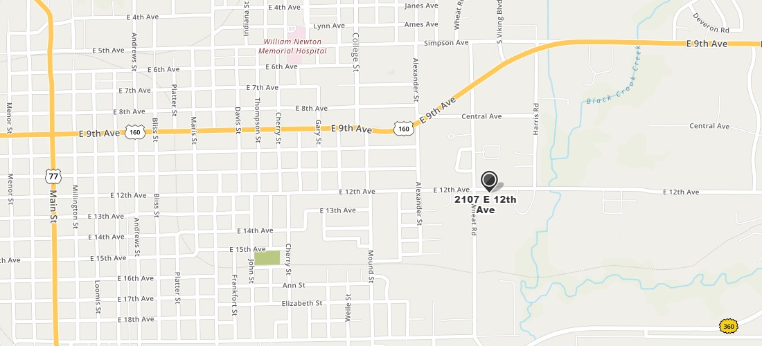 Directions to 2107 E 12th Ave, Winfield, KS 67156